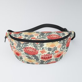Protea Chintz - Grey & Red Fanny Pack