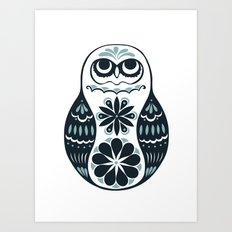 Flower Owl Matryoshka - Steel Art Print