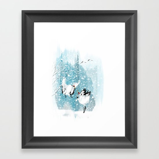 Dancing in the snow Framed Art Print
