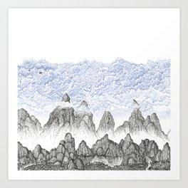 Cobalt Coudy Mountains 2: Lake Art Print