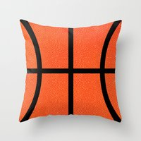 basketball Throw Pillows featuring Basketball by Rorzzer