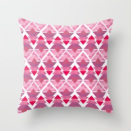Pink Geometric Forest Throw Pillow