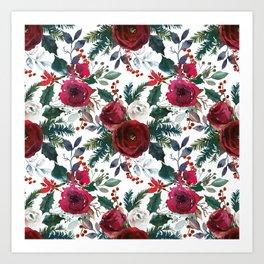 Festive Red Floral Arrangement on White  Art Print