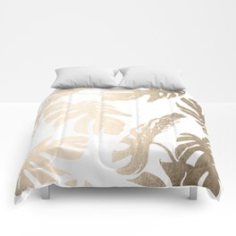 Simply Tropical Palm Leaves in White Gold Sands Comforters