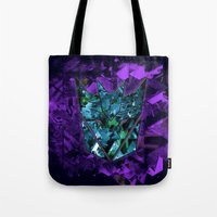 transformers Tote Bags featuring Decepticons Abstractness - Transformers by DesignLawrence