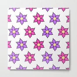 Pink and Purple Fluro Flowers Metal Print