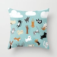 dogs Throw Pillows featuring Raining Cats & Dogs by Anne Was Here