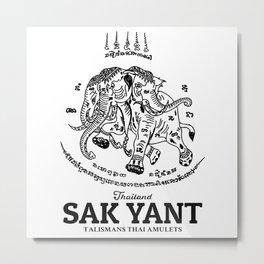 Elephant Sak Yant Thai Tattoo Metal Print