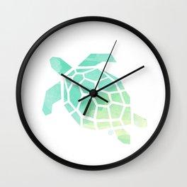 green sea turtle, watercolor, geometric & minimalism Wall Clock
