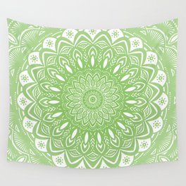Light Lime Green Mandala Simple Minimal Minimalistic Wall Tapestry