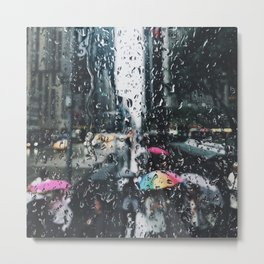 New York City in the Rain Metal Print