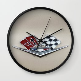 Vintage Corvette Logo (Flags) - Classic Cars Wall Clock