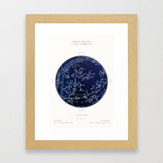 French July Star Maps in Deep Navy & Black, Astronomy, Constellation, Celestial by paperwords