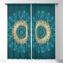 Gratitude Mandala   Teal Gold Mandala Affirmation   Inspirational Energy Art Blackout Curtain