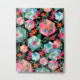 Whimsical Hexagon Garden on black Metal Print