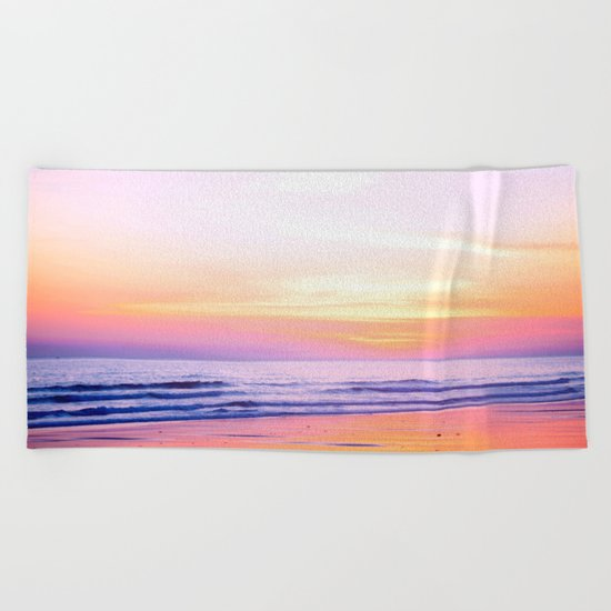 Pink Sunset Beach Beach Towel