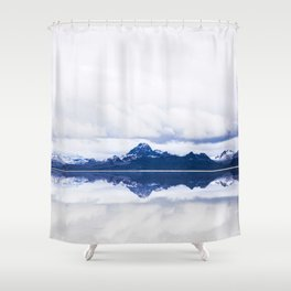 Navy blue Mountains Against Lake With Clouds Shower Curtain