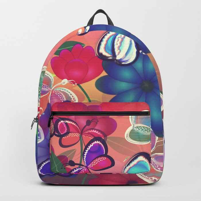 Abstract Butterflies with Flowers (Vintage Orange) Backpack