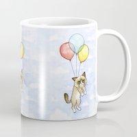 meme Mugs featuring Cat With Balloons Grumpy Birthday Meme by Olechka