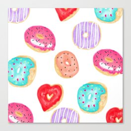 Modern cool hand painted watercolor donuts pattern Canvas Print