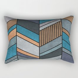Colorful Concrete Chevron Pattern - Blue, Grey, Brown Rectangular Pillow