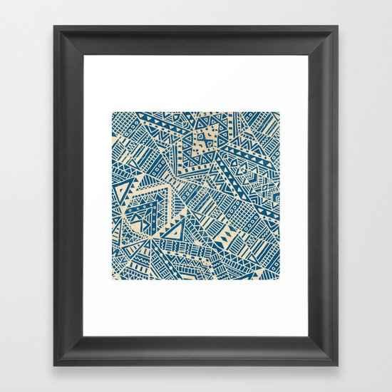 Tribal (blue)  Framed Art Print