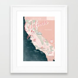California Road Trip Map Framed Art Print