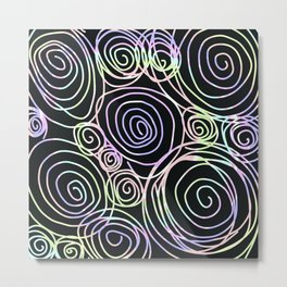 Abstract Artwork Pattern of Color Circles on a Black Background Style #01 Metal Print