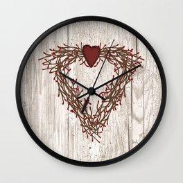 Pip Berry Heart Wreath Wall Clock