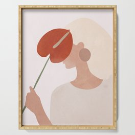 Lady with a Red Leaf Serving Tray