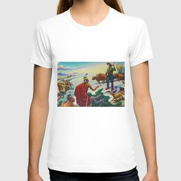 Classical Masterpiece 'American West from Native Americans Perspective' by Thomas Hart Benton T-shirt