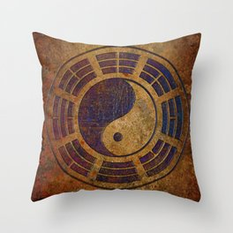Purple Yin Yang Sign on Granite Throw Pillow
