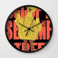 sesame street Wall Clocks featuring OCCUPY SESAME STREET by perilpress