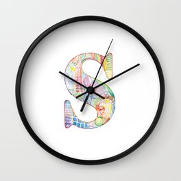 Letter S - Watercolor Monogram - Colorful Lettering - Watercolor Letter Print - Watercolor Initial Wall Clock