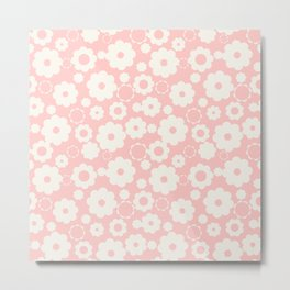 White flowers over pink Metal Print
