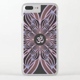 Spiritual Art, Om Symbol, Pink and Purple Mandala, Yoga Gift Clear iPhone Case