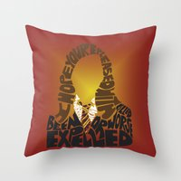 hermione Throw Pillows featuring Hermione by Rebecca McGoran