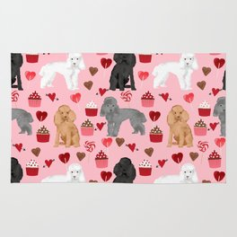 Toy Poodles mixed coat valentines day cupcakes love hearts dog breed gifts pet portraits must haves Rug