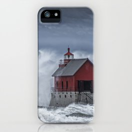 Grand Haven Lighthouse in a November Storm on Lake Michigan iPhone Case