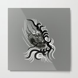 Dragon in Tattoostyle , black - white and grey Design Metal Print
