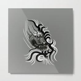 Dragon in Tattoostyle , black - white and grey Design Metal Print
