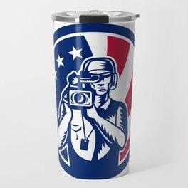 American Cameraman USA Flag Icon Travel Mug