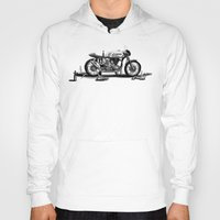 cafe racer Hoodies featuring Beer Savage Vintage Norton Cafe Racer by TCORNELIUS