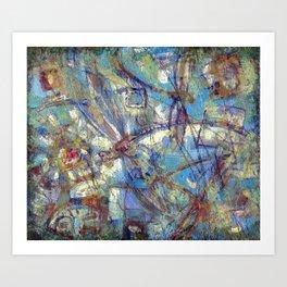 Dragonflies in blue Art Print