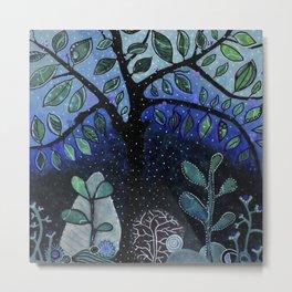 Dreamy tree at winter's night  Metal Print