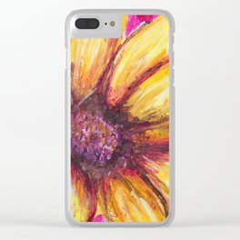 Cheery Yellow Flower Clear iPhone Case