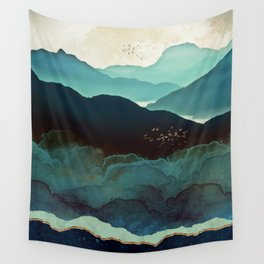 Indigo Mountains Wall Tapestry