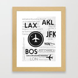 Last CHANCE! Discover world! Airport codes. Travel. Love. Framed Art Print