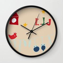 Holiday bird beige Wall Clock