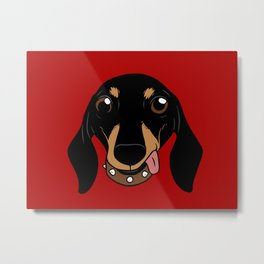 Say hi to the cute Dachshund your short-legged doggie friend Metal Print